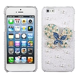 Insten® Pearl 3D Diamante Back Protector Cover F/iPhone 5/5S; Blue-Dot Butterfly