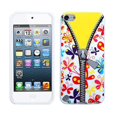 Insten® TPU Plastic Gummy Skin Phone Cover For iPod Touch 5th Gen; Butterfly/Zipper