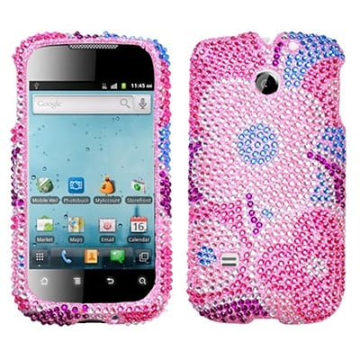 Insten® Diamante Protector Cover For Huawei M865 Ascend II/U8651T Prism/U8651S; Colorful Flowers