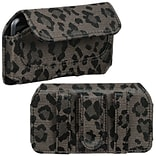 Insten® Horizontal Pouch Belt Clip For iPod Touch 4th Gen; Coffee Leopard Animal Skin Watermark