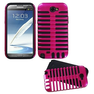 Insten® Microphone Fusion Protector Cover For Samsung Galaxy Note II; Hot-Pink/Black