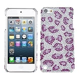 Insten® Diamante Back Protector Cover For iPod Touch 5th Gen; Leopard Skin/Purple