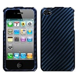 Insten® Phone Protector Cover F/iPhone 4/4S, Racing Fiber/Blue (2D Silver)