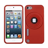 Insten® Camera Style Stand Pastel Skin Cover With Lanyard For iPod Touch 5th Gen; Red