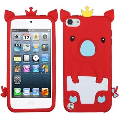 Insten® Silicone Skin Soft Phone Cover For iPod Touch 5th Gen; Red Piggie
