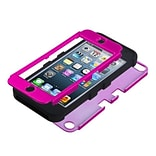 Insten® TUFF Hybrid Protector Cover F/iPod Touch 5th Gen; Titanium Solid Hot-Pink/Black