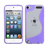 Insten® Transparent S-Shape Gummy Cover For iPod Touch 5th Gen; Clear/Purple