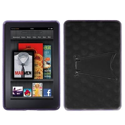 Insten® Hole Pattern Gummy Cover W/Stand For Kindle Fire, Transparent Clear/Purple (1019587)