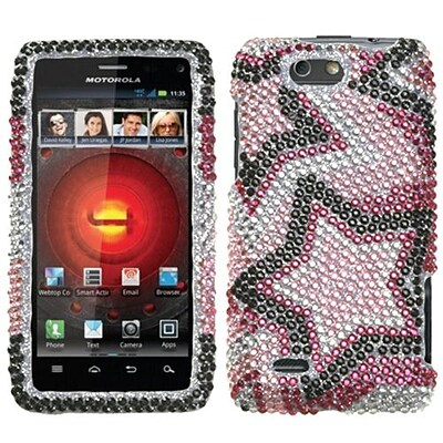Insten® Diamante Protector Cover For Motorola XT894 Droid 4; Twin Stars