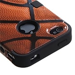 Insten® TUFF Hybrid Phone Protector Cover F/iPhone 4/4S; Basketball-Sports Collection/Black