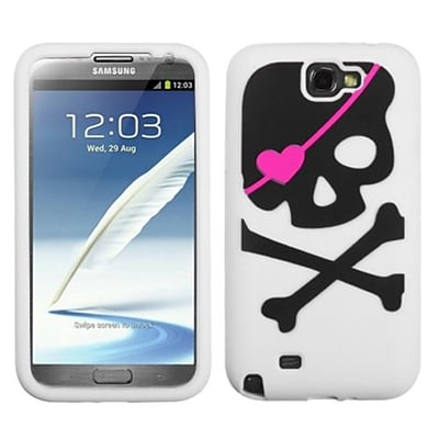 Insten® Pastel Skin Case For Samsung Galaxy Note II (T889/I605); Big Skull/White