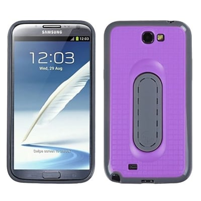 Insten® Stand Protector Cover For Samsung Galaxy Note II (T889/I605); Purple Snap Tail