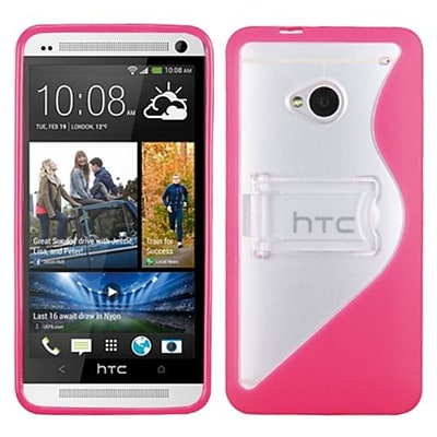 Insten® Gummy Cover For HTC-One/M7; Transparent Clear/Solid Hot-Pink