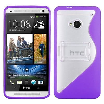 Insten® Gummy Cover For HTC-One/M7; Transparent Clear/Solid Purple