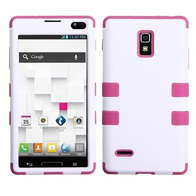Insten® TUFF Hybrid Phone Protector Cover F/LG P769 Optimus L9; Ivory White/Hot-Pink