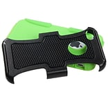 Insten® Fusion Protector Cover F/iPhone 4/4S, Natural Black/Electric Green Frosted