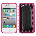 Insten® Protector Cover W/Snap Tail Stand F/iPhone 4/4S; Hot-Pink Massage Dots