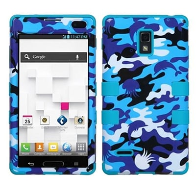 Insten® TUFF Hybrid Phone Protector Cover F/LG P769 Optimus L9; Aquatic Camouflage/Tropical Teal