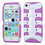 Insten® Ribcage Hybrid Protector Case F/iPhone 5C, Solid Ivory White/Electric Purple