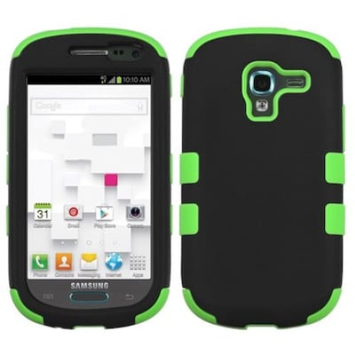 Insten® TUFF Hybrid Phone Protector Case For Samsung T599 Galaxy Exhibit; Black/Electric Green