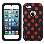 Insten® TUFF eNUFF Hybrid Phone Protector Cover F/iPhone 5/5S; Natural Black/Red Polka Dots