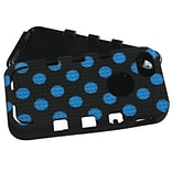 Insten® TUFF eNUFF Hybrid Phone Protector Cover F/iPhone 5/5S; Natural Black/Blue Polka Dots