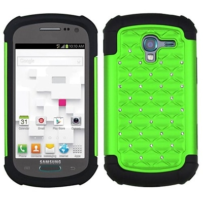 Insten® Lattice Dazzling Protector Case F/Samsung T599 Galaxy Exhibit; Pearl Green/Black