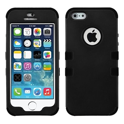 Insten® TUFF Hybrid Rubberized Phone Protector Cover F/iPhone 5/5S; Black