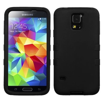 Insten® Rubberized TUFF Hybrid Phone Protector Case For Samsung Galaxy S5; Black/Black