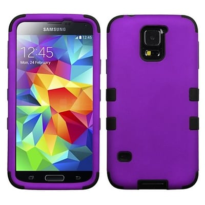Insten® Rubberized TUFF Hybrid Phone Protector Case For Samsung Galaxy S5; Grape/Black