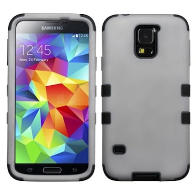 Insten® Rubberized TUFF Hybrid Phone Protector Case For Samsung Galaxy S5; Gray/Black