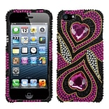 Insten® Diamante Phone Protector Cover F/iPhone 5/5S; Hot-Pink Hypnotic Hearts
