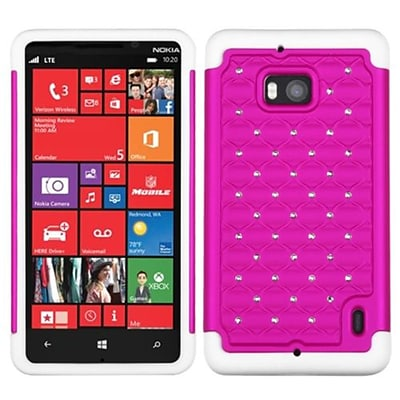 Insten® Luxurious Lattice Dazzling Protector Cover For Nokia Lumia Icon 929; Hot-Pink/Solid White