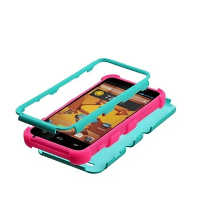 Insten® TUFF Hybrid Protector Cover For ZTE N9510 Warp 4G; Teal Green/Electric Pink