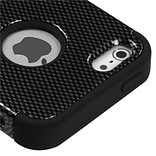 Insten® TUFF Hybrid Phone Protector Cover F/iPhone 5/5S, Carbon Fiber/Black