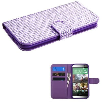 Insten® Book-Style MyJacket Wallet For HTC-One M8; Purple Diamonds