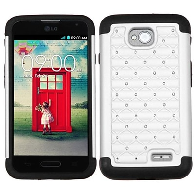 Insten® Protector Cover For LG MS323/VS450PP; White/Black Luxurious Lattice Dazzling