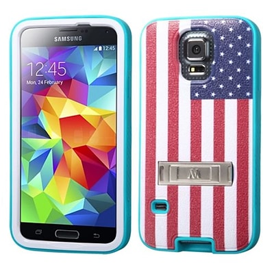 Insten® VERGE Protector Cover W/Stand F/Samsung Galaxy S5; United States National Flag/Tropical Teal