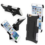 Insten® Rubberized Protector Cover W/Car Armor Stand F/4.7 iPhone 6, Black/White
