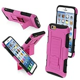 Insten® Rubberized Protector Cover W/Car Armor Stand F/4.7 iPhone 6, Hot-Pink/Black