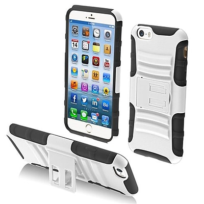 Insten® Protector Cover W/Advanced Armor Stand F/4.7 iPhone 6, White/Black