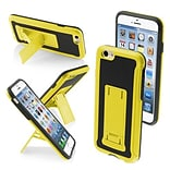 Insten® Protector Cover W/Advanced Armor Stand F/4.7 iPhone 6; Yellow/Black Leather Backing/Black