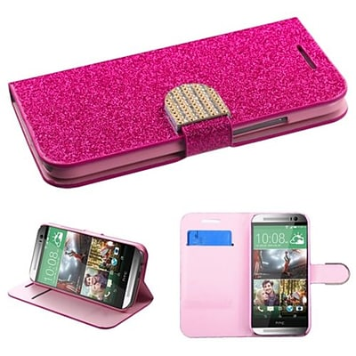 Insten® MyJacket Wallet For HTC-One M8, Hot-Pink Glittering