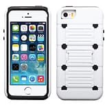 Insten® Protector Cover W/Advanced Armor Stand F/iPhone 5/5S; White/Black Raised Dots Cutout