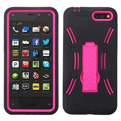 Insten® Symbiosis Stand Protector Case For Amazon Fire; Hot-Pink/Black