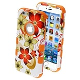 Insten® TUFF Hybrid Phone Protector Cover F/4.7 iPhone 6; Hibiscus Flower Romance/Orange