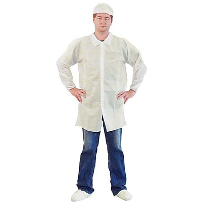 Keystone LC0-WE-NW-HD-2XL Single Collar White Disposable Lab Coat, 2XL, 30/Box