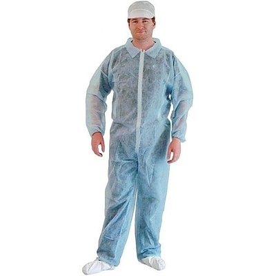 Keystone CVL-NW-E-BLUE-LG Polypropylene Disposable Coverall, Large, 25/Box