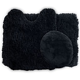 Lavish Home Bath Mat Rug Set; Polyester Fabric 24 x 19.5 Black