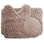 Lavish Home Bath Mat Rug Set; Polyester Fabric 24 x 19.5 Taupe